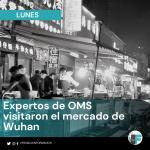 Visita de expertos de OMS al mercado de Wuhan en China.