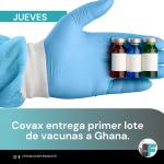 Ghana es el primer país que recibe vacunas de COVAX.